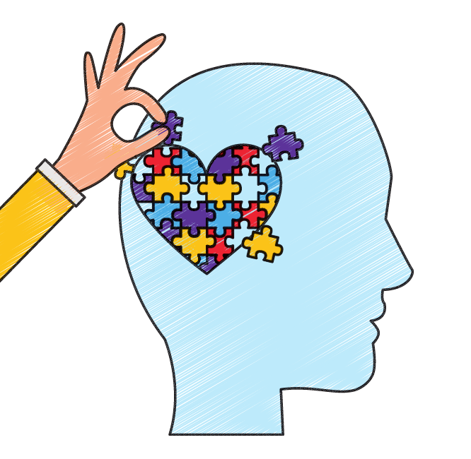 a hand putting together a puzzle that is in the shape of a heart on the head of a silhouette of a man's face that represents figuring out how to show kindness to yourself